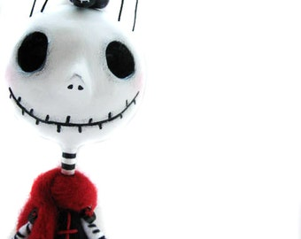 Halloween Doll  - Skeleton Doll - Halloween Decor - Black Spider - Made to Order