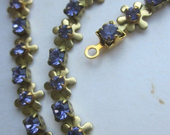 Vintage  lavender Blue  Daisy Chain With  Rhinestones
