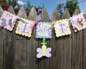 MADE TO ORDER Butterfly Garden Highchair Small Banner - I am 1 - Customize Your Way