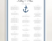 Nautical Beach Seating Chart for Wedding Table Assignments for your Wedding Reception - Printable PDF File