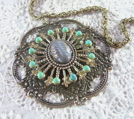Vintage Statement Necklace, HUGE Royal Medallion, Silver Ornate Pendant, Turquoise Beads, Purple Moonglow Cabochon, 1960s Mad Men Jewelry