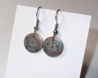 Small Sugar Skull Earrings - Copper, Day of the Dead, Teal, Dangle