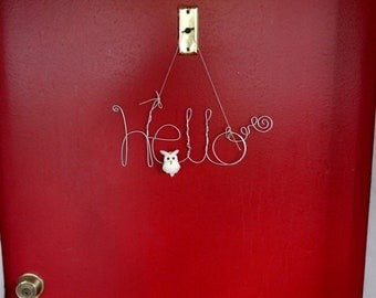 Hello Wire Word Decoration, Hanging Picture Frame Photo Holder with White Owl, Housewarming Gift, Wall Art, Front Door