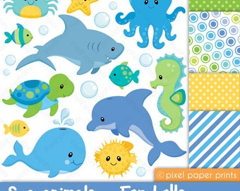 Sea animals for boys - Clipart and digital paper set