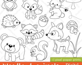Items similar to coloring book forest animals digital for Forest animals coloring pages
