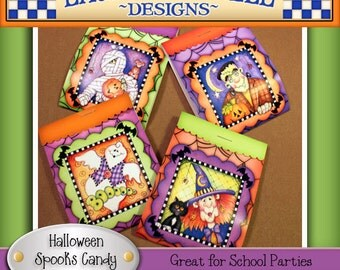 Halloween Candy Covers, Halloween candy wrappers, ghost candy wrapper, mummy candy wrappers, witch candy wrapper, Laurie Furnell, printables