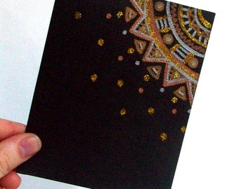 Black Metallic Note Cards - Set of 4 cards - Blank White on the inside - Envelopes included