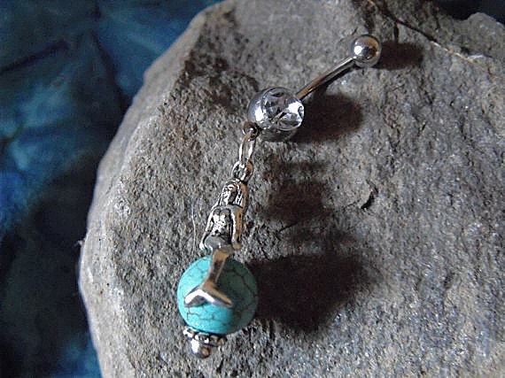 Belly Ring,  Mermaid Sitting On Turquoise Bead  Womens Gift  Handmade