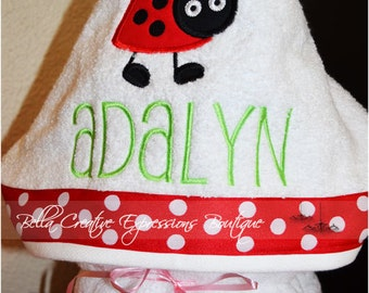 Ladybug Hooded Towel (other colors available for towel)