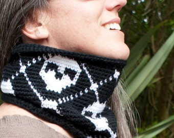 Crochet Pattern-- Tartan Skull Cowl --Crochet Pattern