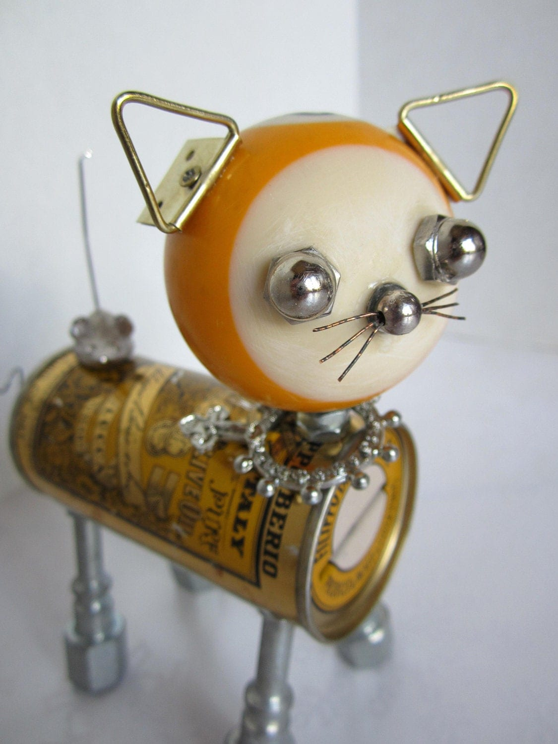 Reserved for EB Yellow Cat Bot found object robot sculpture
