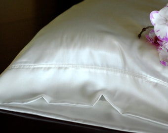 Silk Pillowcase Soft White Silk Charmeuse (un-dyed) Hypoallergenic Bedding for Sensitive Skin and Hair Care
