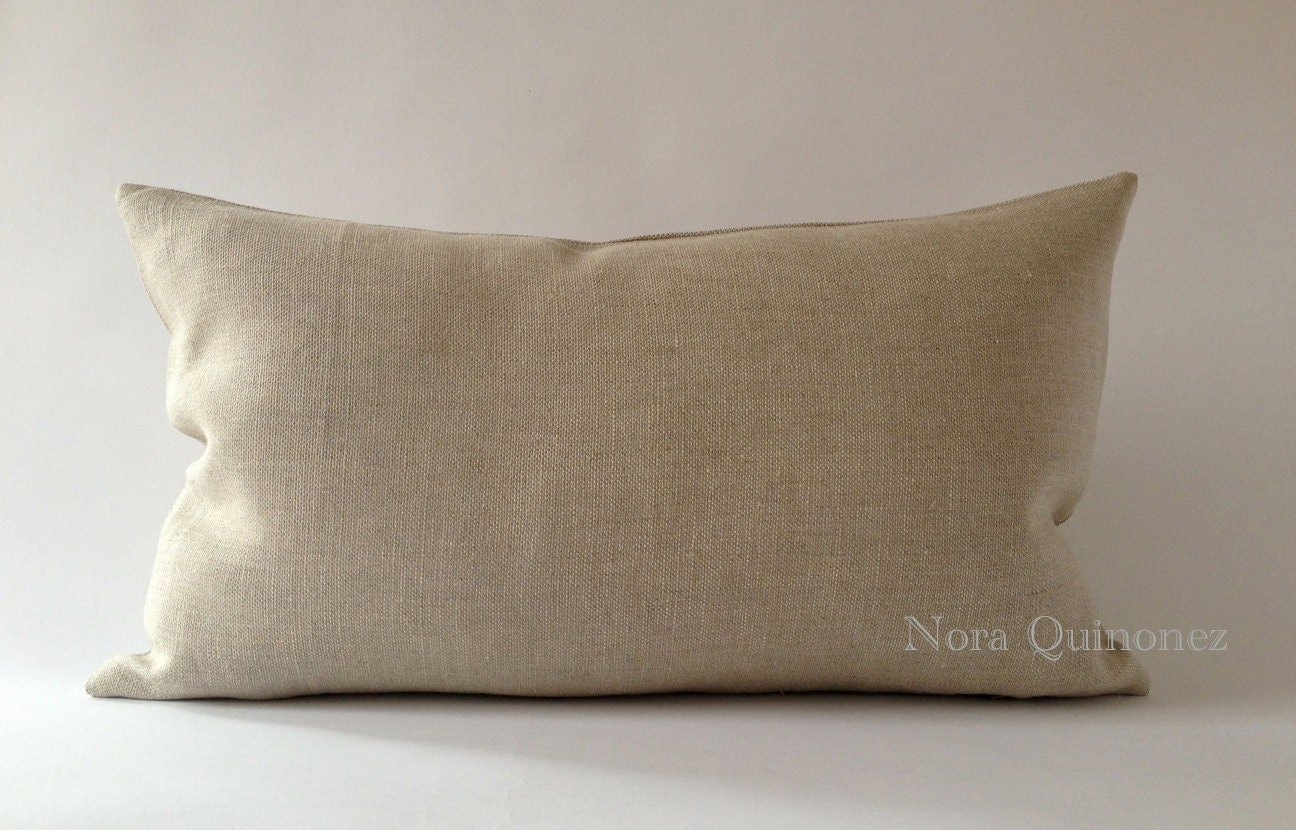 Decorative Bolster Pillow Covers : Oatmeal Linen Decorative Bolster Pillow Cover Medium Weight