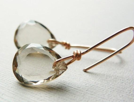 Rose Gold Earrings with Smoky Quartz. Rose Gold Dangle Earrings. Light Brown Gemstone Earrings. Gifts for Women.