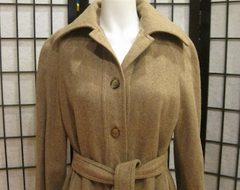Vintage Wool Trench Coat Made in France for Saks Fifth Avenue 1960s 1970s Taupe Light Brown M L 36 37 SALE Reduced