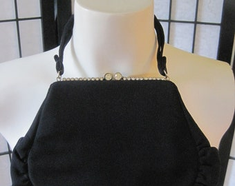 Vintage 1930s 1940s Black Evening Bag Magid Rhinestones Party Change Purse Clutch Handbag Art Deco Feminine Wristlet