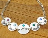 Grandma Bracelet 4 names Personalized Hand Stamped Sterling silver with recessed birthstones