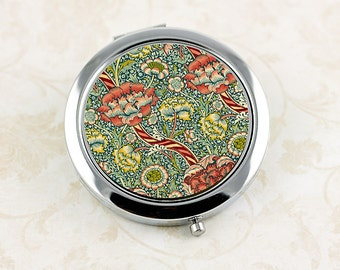 Flower Compact Mirror, William Morris Wandle Vintage Floral Pattern, perfect gift for Bridesmaid, Mother's Day Gift