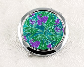 Flower Compact Mirror, Floral Pocket Mirror, Art Nouveau Teal Purple Green Design, Gifts for Her
