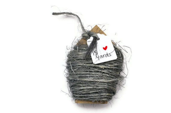 Gray string . rough sisal cord  2mm thin . metal effect . 15 yards  rope . twine . natural . supplies . other colors available