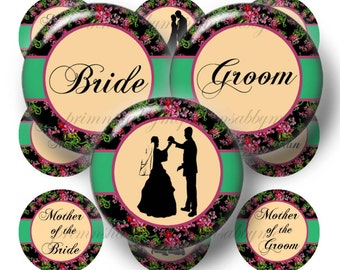 Wedding Party 1 Inch Circles Digital Collage sheet Bottle Cap Images Floral Cottage Chic (No.6) Craft Supplies