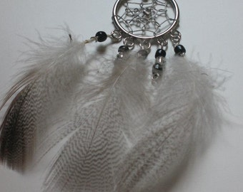 Silver beaded dream catcher necklace