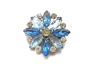 Blue Rhinestone Brooch 1950s Bridal Something Old Blue