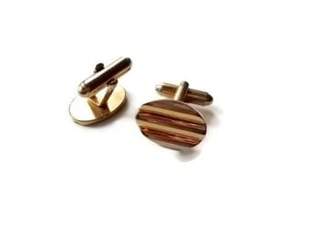 Vintage CuffLinks Gold Toned Elegant Groom Fathers Day 1960s