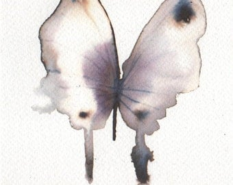 light grey violet and white butterfly. 5x7 inches. original watercolour painting