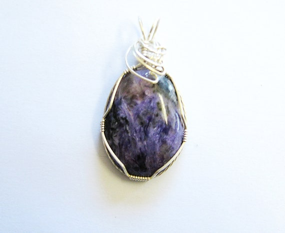 Charoite Wire Wrapped Pendant in Sterling Silver
