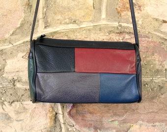 Crossbody Purse long strap mini bag patchwork leather shoulder bag boho hipster black red blue grey vintage 80s 90s Mondrian Via Romano
