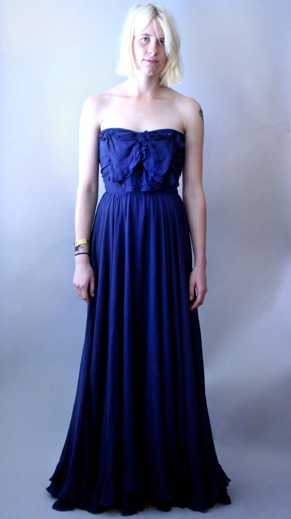 1960s Valentino Saphire Blue Couture Silk Chiffon Gown