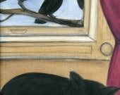 Blackbird vs. Black Cat illustration (6x8) Goth Art Print