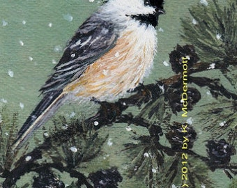 Chickadee Detail Print from Set 16 - Bird 1 - 5 X 7 inch Brushstroke Enhanced