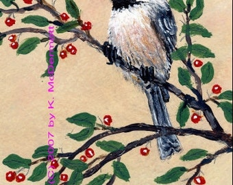 Chickadee Detail Print from Set 13, Bird 2 - Brushstroke Enhanced