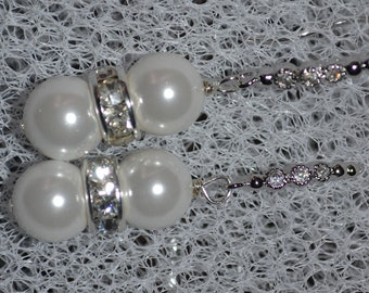 White Pearl Earring w Crystal Silver, Pearl Dangle earrings silver, 1.5 inch Pearl Dangle, Bridal Earrings