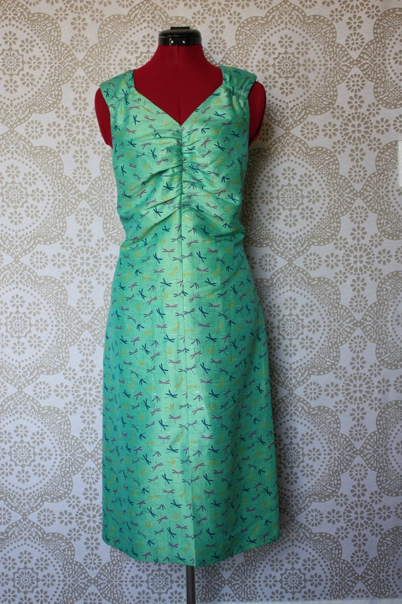 Vintage Dragonflies and Mint Silk Bombshell Wiggle Dress Large