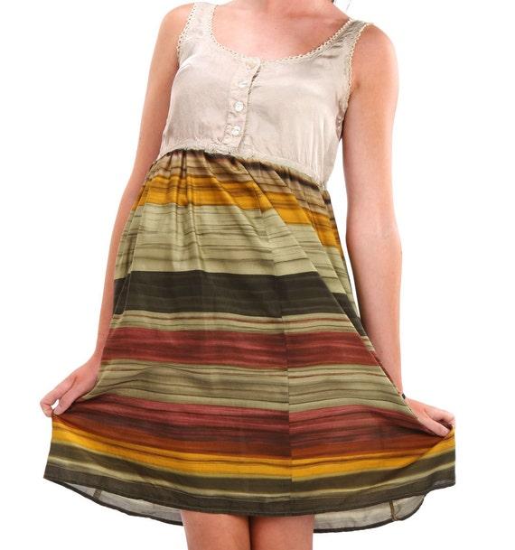 Reconstructed Silk Dress in earthtones