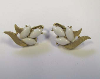 Vintage White Navette Cabochon Gold tone Non Pierced Earrings, Signed Trifari Clip on Earrings