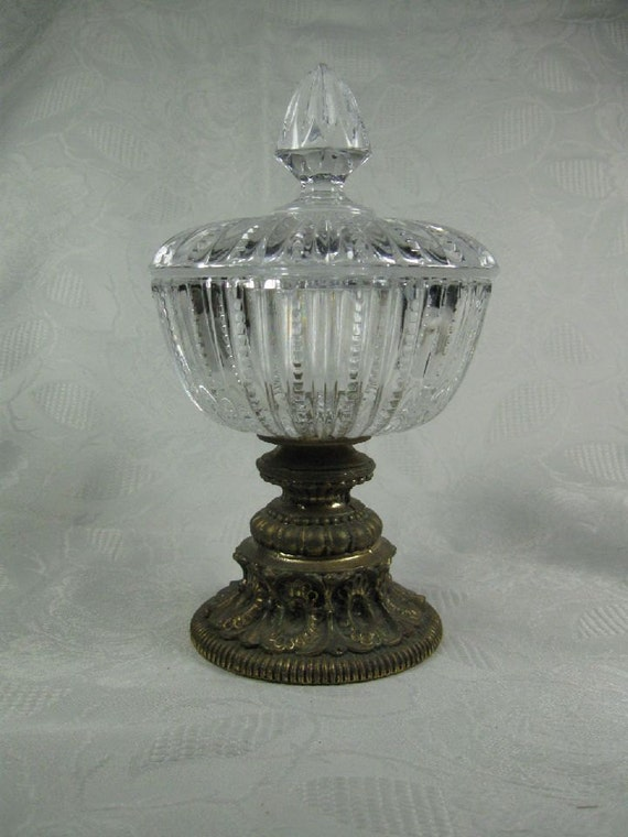 Vintage Covered Crystal Candy Dish And Lid Ornate By Trustyboomer