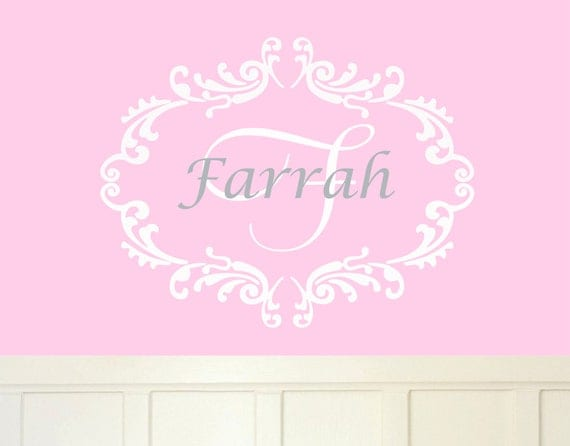 Girls Monogram Wall Decal Name Decals Nursery Name Monogram Wall Decal Teen Girl Decals Bedroom Decals For Children Teens Shabby Chic Decals