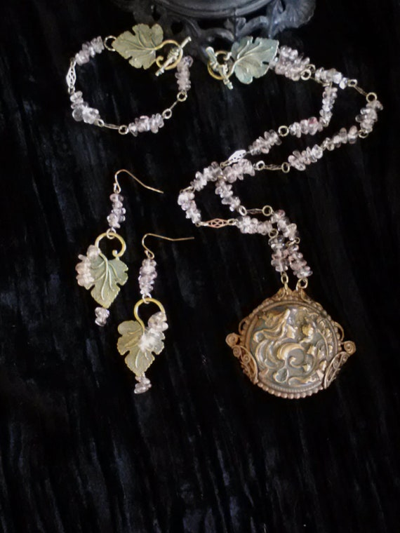 Art Nouveau Lady and Floral Design in Repousse Brass with Patina and Rose Glass Bead Chips-Necklace, Bracelet and Earrings Set - NV-11-011