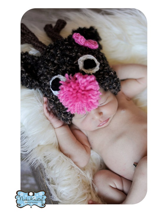 Baby Crochet Rudolph the Red Nosed Reindeer Boy or Girl Christmas Photography Prop Halloween Costume -Treasured Little Creations