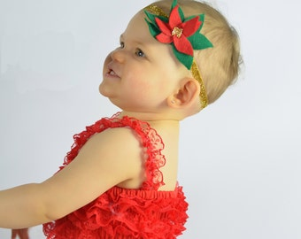 Poinsettia Christmas Headband Felt Flower Gold Seed Bead Center Glitter Elastic Headband Holiday Photo Prop