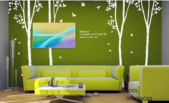 Vinyl Wall Decal Trees Wall Sticker Children Decal Nature Wall Decal White Trees Art Design - Four Birch Trees set