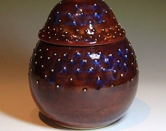 Handmade Ceramic Lidded Jar in Brown Purple Cream
