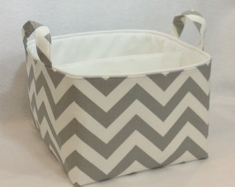 "LG Diaper Caddy 10""x10""x7"" Fabric Storage bin, Fabric Organizer Zig Zag  Stone Grey/White Chevron with White Lining"