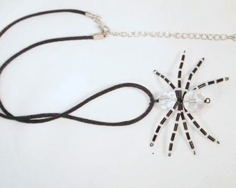 Spider Necklace.  Black and Crystal Beaded Spider Necklace. Halloween Necklace CKDesigns.us