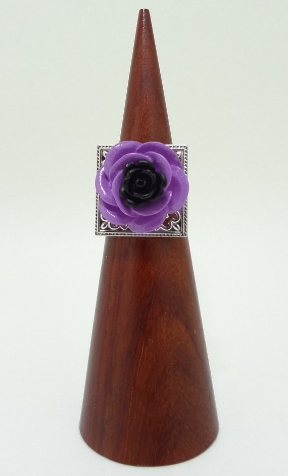 Flower Statement Ring, Black and Purple Rose On Top of a Silver Filigree Adjustable Ring Band