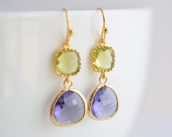 10% OFF, Peridot and Tanzanite earrings, Gold earrings, Gold earrings, Bridesmaid gift, Bridal jewelry, Cocktail jewelry, Valentine's gift